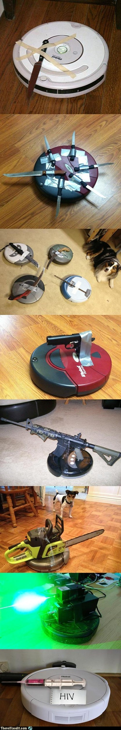 doomba gun irobot knife revolution roomba there I fixed it uprising - 6513993216