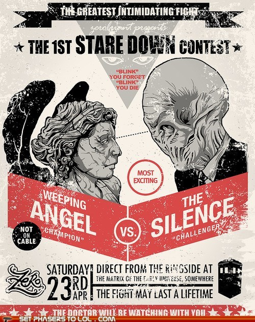 Battle,boxing,doctor who,poster,staring contest,the silence,weeping angels