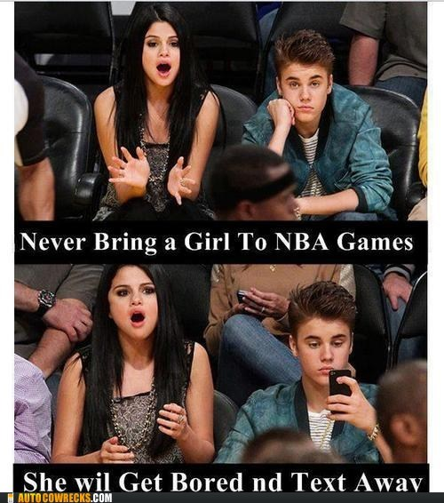 basketball,bored,justin bieber,nba,real problem,Selena Gomez