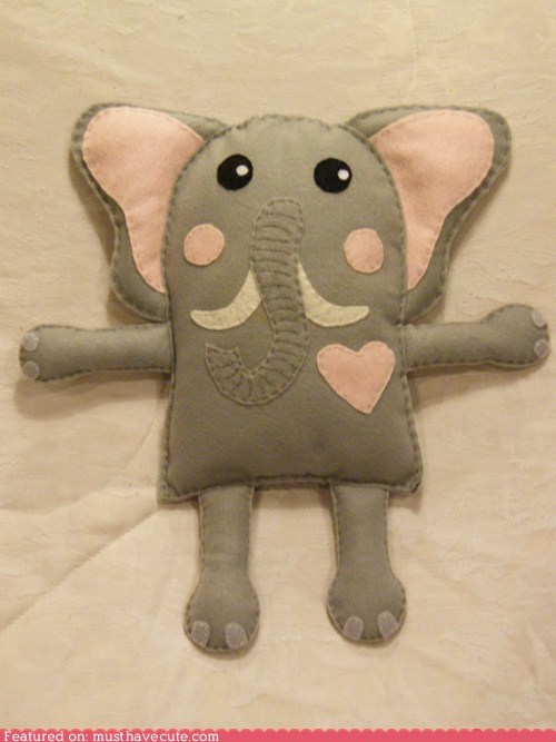 elephant felt heart hug Pillow - 6514362112