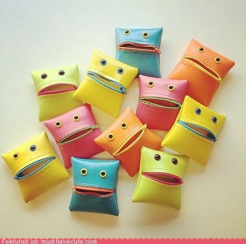 coin purse monster mouth wallet zipper - 6514371328