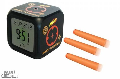 alarm clock,design,mornings,Nerf,snooze,snooze button