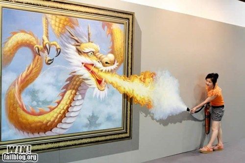 art,clever,dragon,fire,illusion,museum