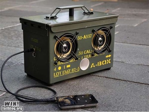 ammo,army,boom box,clever,design,ipod