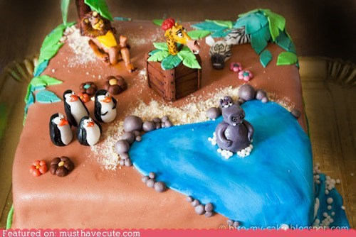 animals cake fondant madagascar Movie - 6514590720
