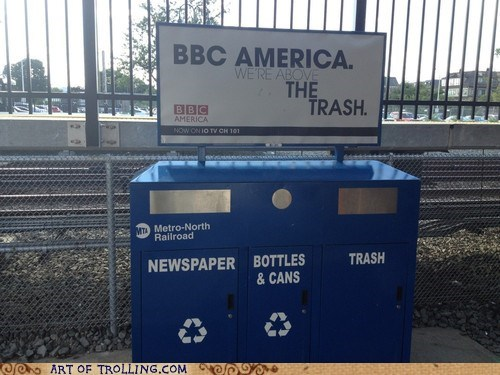 Ad,bbc america,sign,trash