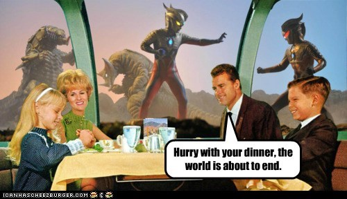 dinner,end of the world,family,monster,restaurant