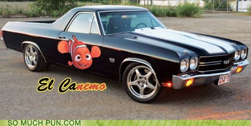 car,dyslexic,El Camino,finding nemo,logo,NEMO,similar sounding,suffix,vehicle