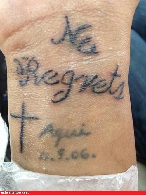 cross no regrets wrist tattoos - 6515643904