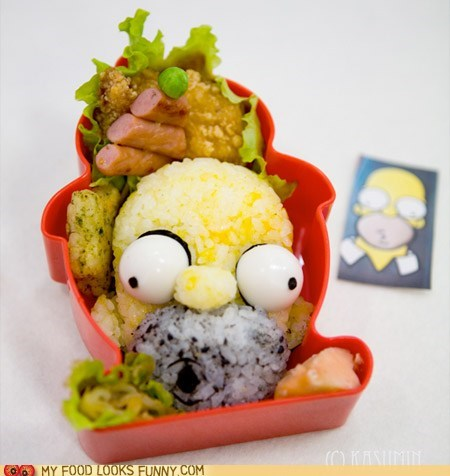 bento doh face head homer rice simpsons