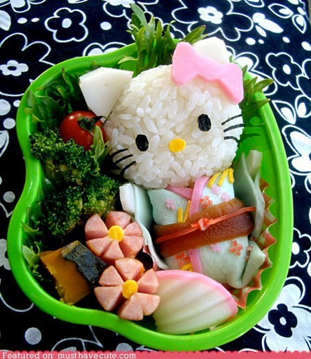 bento,epicute,geisha,hello kitty,lunch,rice,veggies