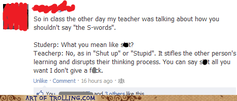 facebook shut up stupid truancy story - 6516286464