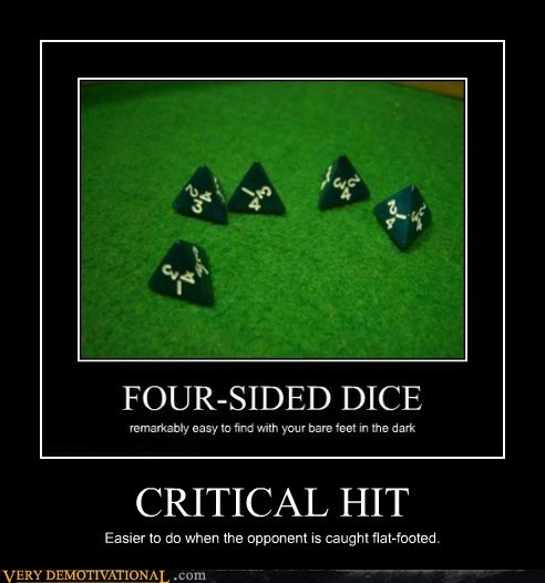 awesome critical hit flat footed four-sided dice - 6516377856