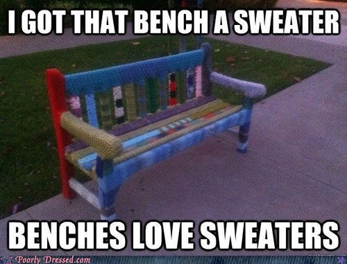 bench,sweater