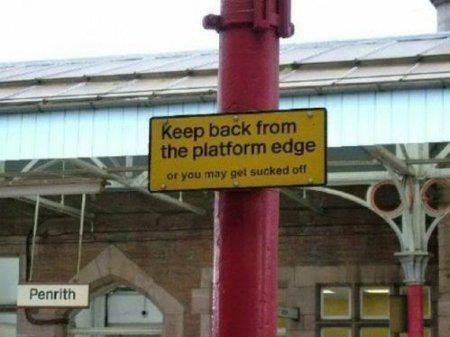 funny signs train station warning - 6516481280