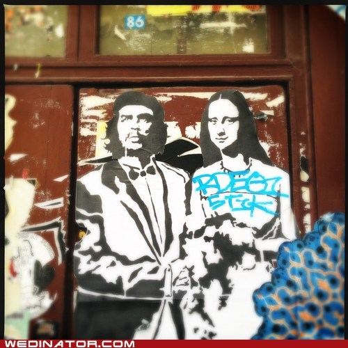bride Che Guevara funny wedding photos groom mona lisa Street Art - 6516866560