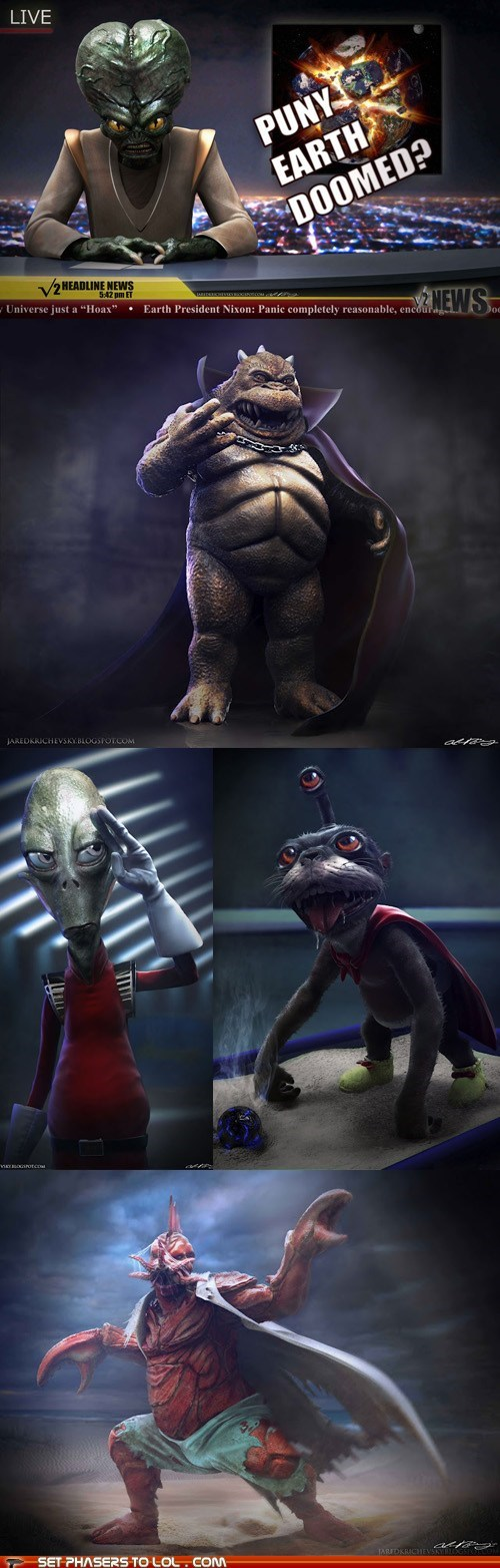 Aliens,creepy,Fan Art,futurama,kiff,morbo,nibbler,realistic,Zoidberg