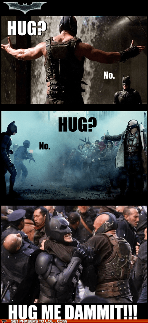 bane,batman,bruce wayne,christian bale,hug,lonely,superheroes,the dark knight rises,tom hardy