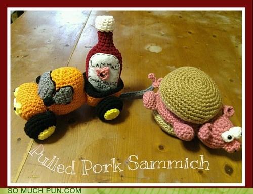 crochet double meaning literalism pork pulled pulled pork sandwich sandwich - 6517096448