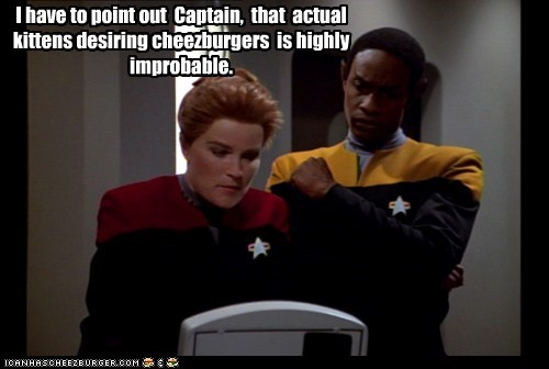 captain janeway I Can Has Cheezburger improbable kate mulgrew kitten Star Trek tim russ tuvock voyager Vulcan - 6517270016