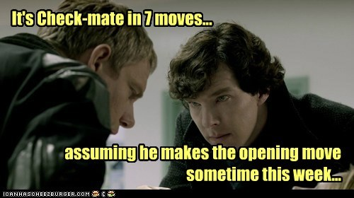 bennedict cumberbatch bored check mate chess impatient Martin Freeman moves opening waiting