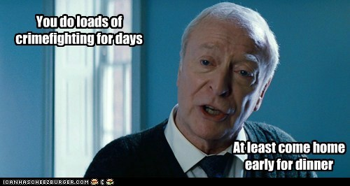 alfred pennyworth batman crime fighting days dinner michael caine the dark knight rises tired of it