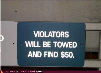 fined,spelling issues,towing