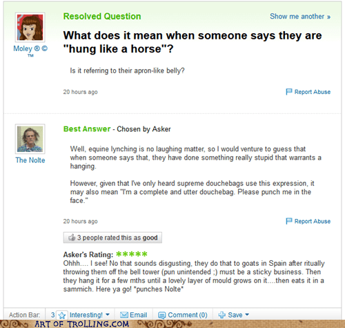 yahoo answers hung like a horse - 6519563264