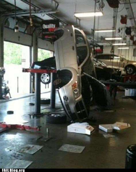 auto shop,car,car repair,crash,lift,whoops