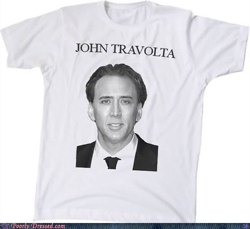 john travolta,nicholas cage,T.Shirt
