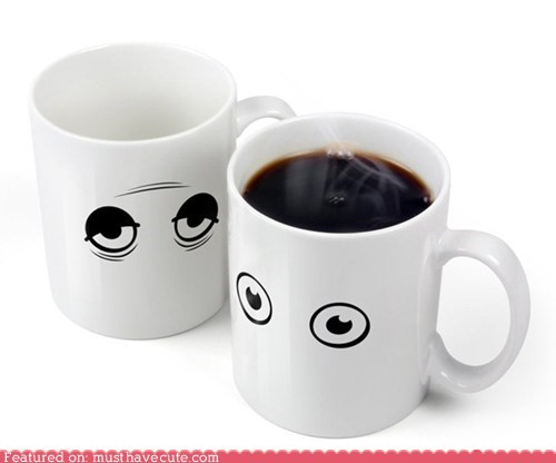 coffee,eyes,heat activated,mug