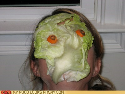 carrots face lettuce mask scary