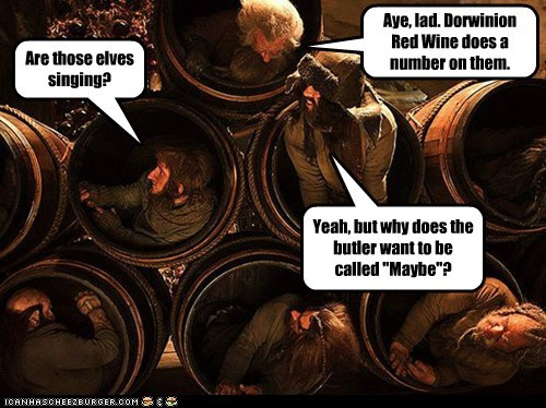 barrels call me maybe drunk dwarves elves singing The Hobbit why wine - 6520829696