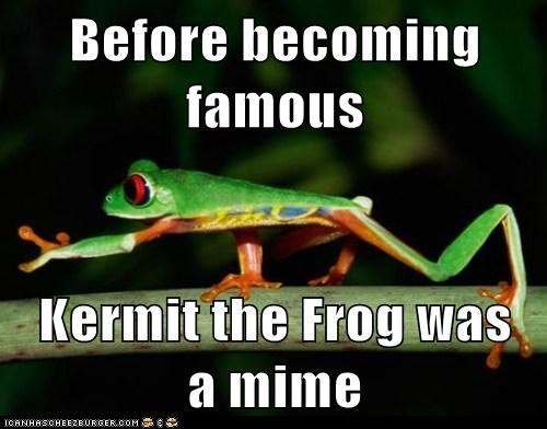 kermit the frog mime performing tree frog wind