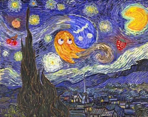 starry night,Van Gogh,painting,pac man,video games