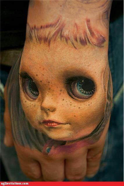 dolly eyes hand tattoos