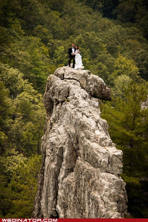 bride,funny wedding photos,groom,mountain climbing,mountains,rock climbing