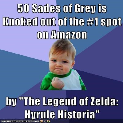 """50 Sades of Grey is Knoked out of the #1 spot on Amazon  by """"The Legend of Zelda: Hyrule Historia"""""""