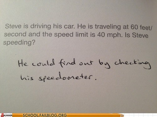 check the speedometer not wrong speeding test humor word problems - 6523094528