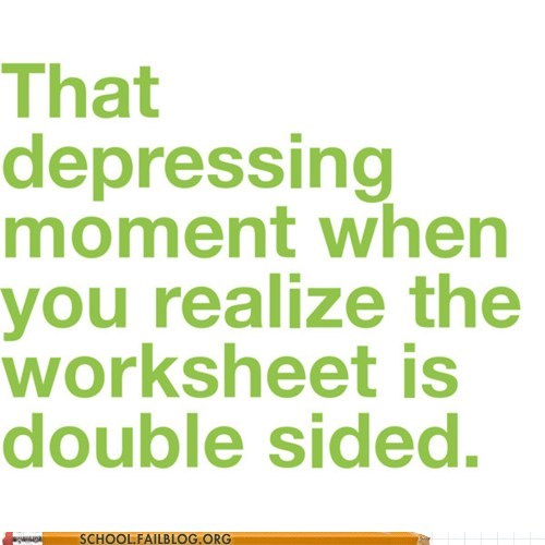 depressing realization double-sided worksheet