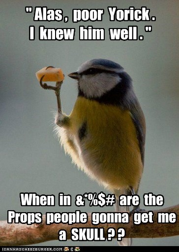 bird cheap cheese hamlet props shakespeare skull Yorick - 6524225280