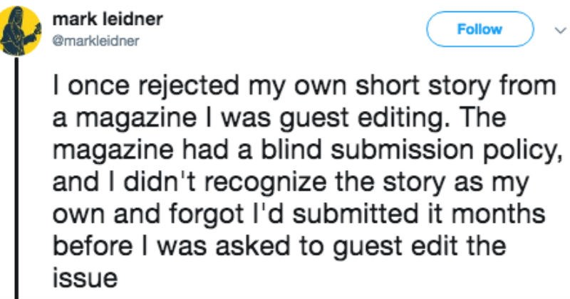 Sad twitter FAIL writer rejection success debt story editor funny - 6524677