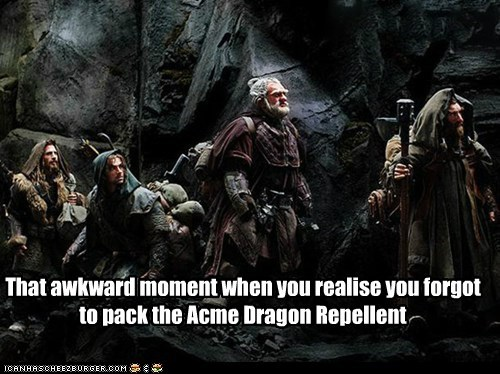 dragon,dwarves,forgot,repellent,that awkward moment,The Hobbit
