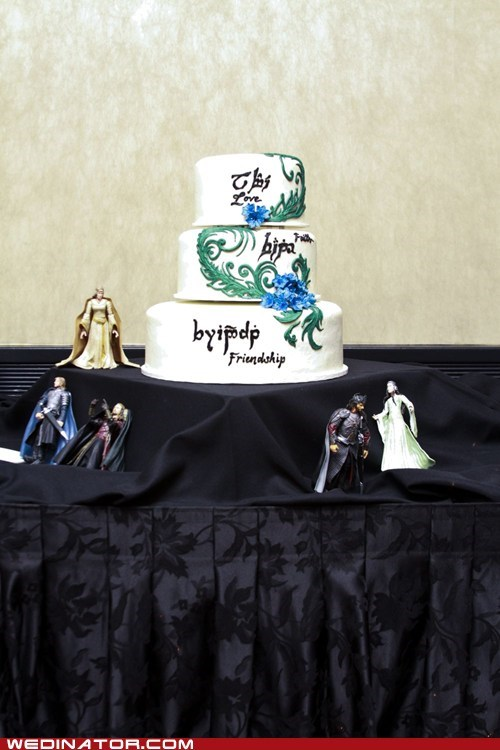 cakes elvish funny wedding photos geek Lord of the Rings wedding cakes - 6524743680