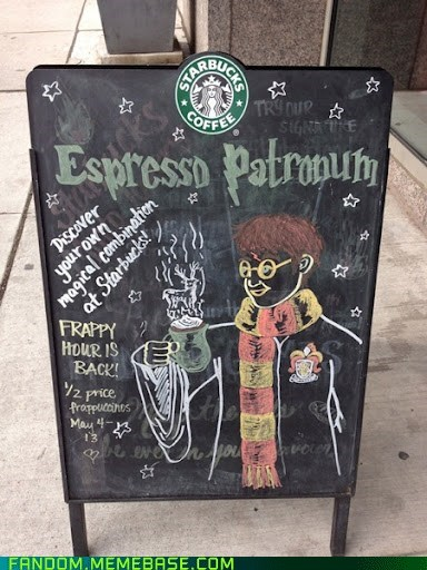 espresso Harry Potter sign