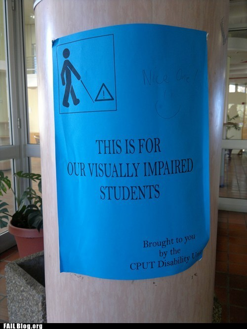blind irony post school students
