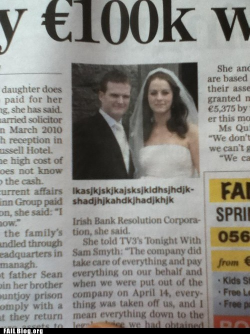 caption junk lorem ipsum newspaper wedding