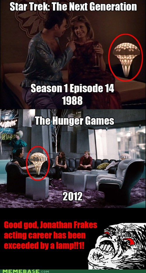 hunger games,Jonathan Frakes,lamp,raisins,Star Trek
