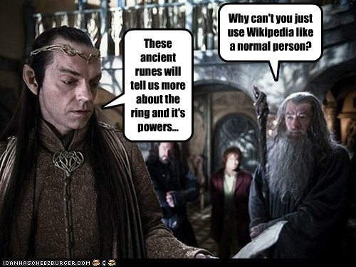 Bilbo Baggins elrond gandalf Hugo Weaving ian mckellen Martin Freeman ring runes The Hobbit wikipedia - 6526191872