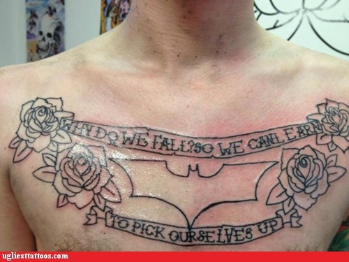 batman,chest tattoos,flowers
